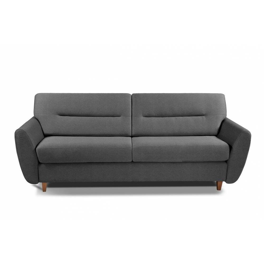 COPENHAGUE divano in pelle riciclata grafite sistema letto RAPIDO 120cm materasso 15cm