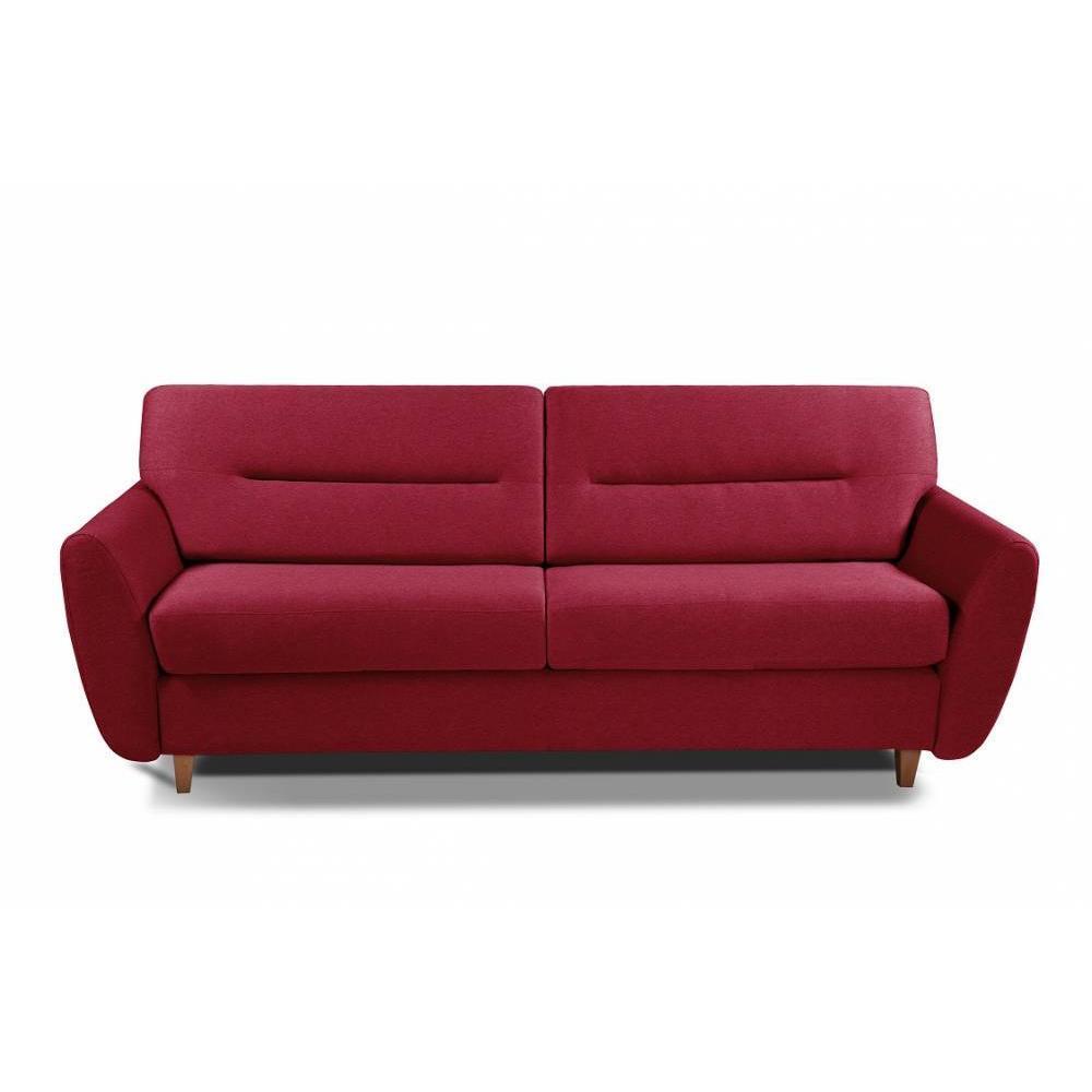 COPENHAGUE divano in pelle riciclata rosso sistema letto RAPIDO 120cm materasso 15cm