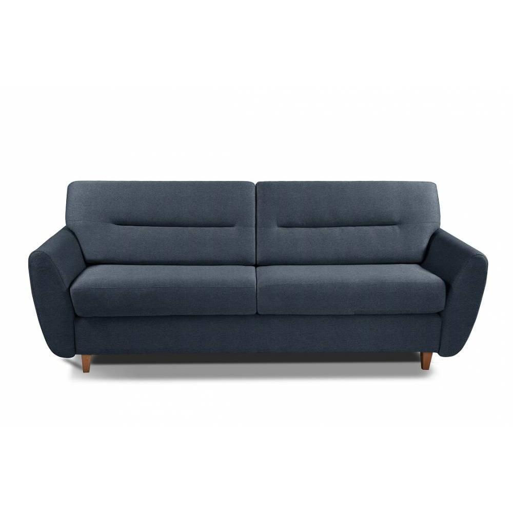 COPENHAGUE divano in tessuto tweed blu sistema letto RAPIDO 120cm materasso 15cm