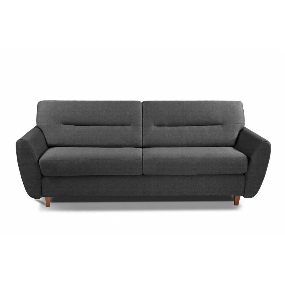 COPENHAGUE divano in tessuto tweed grafite sistema letto RAPIDO 120cm materasso 15cm