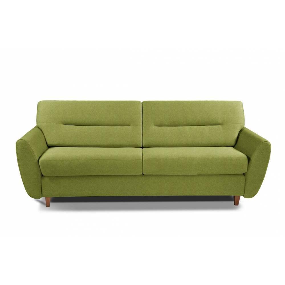 COPENHAGUE divano in tessuto tweed verde lime sistema letto RAPIDO 120cm materasso 15cm