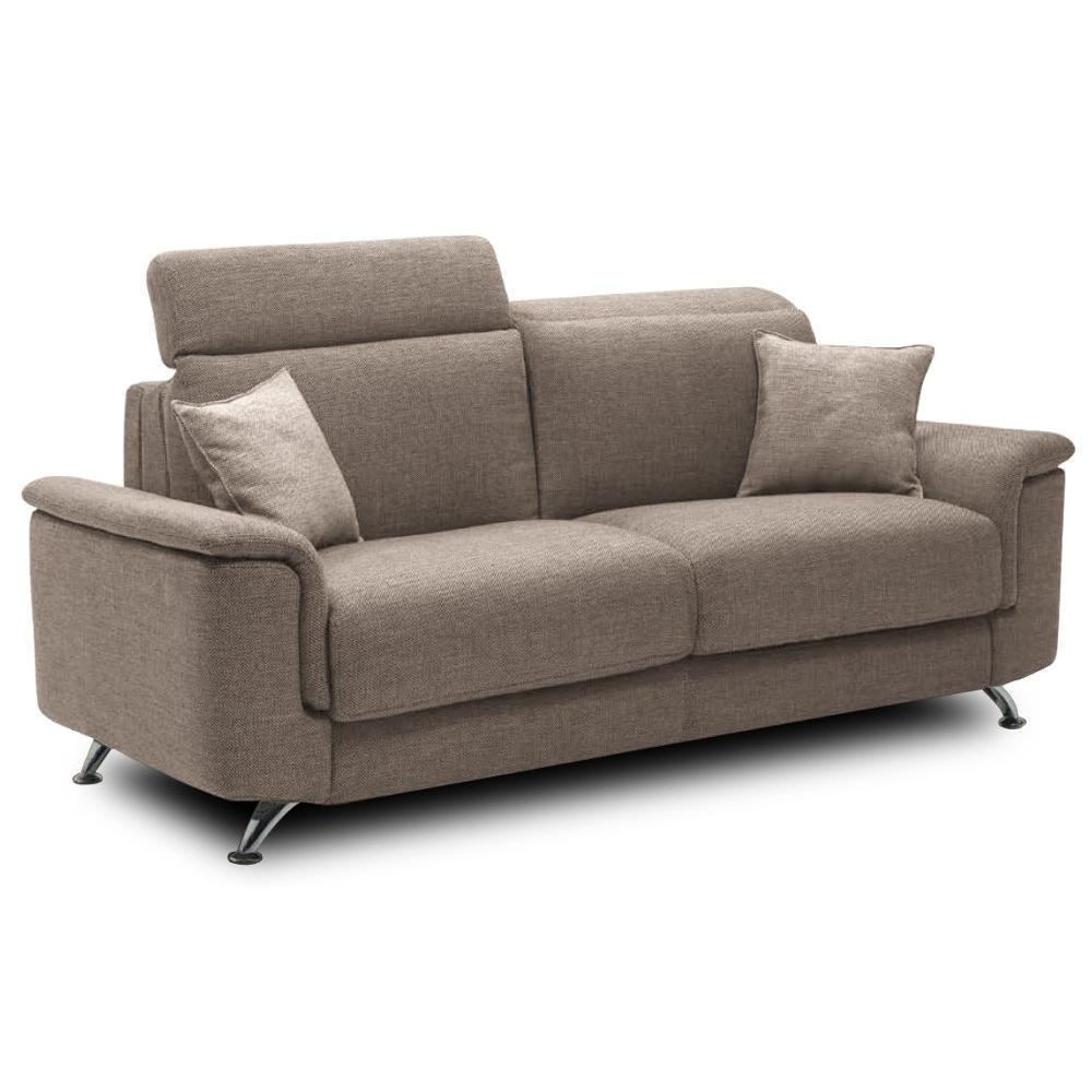 Canapé droit 3 places Beige Tissu Design Confort