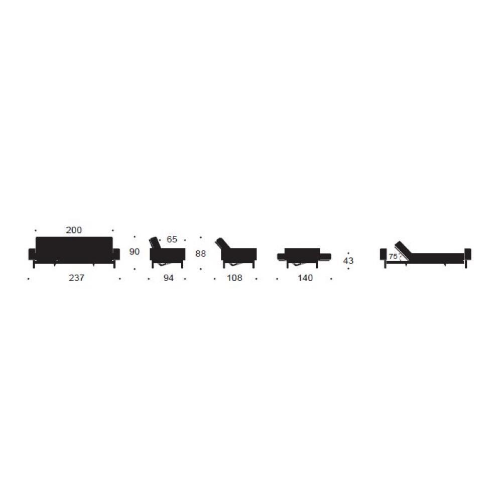 INNOVATION LIVING  Canapé design mulitfonction MIMER convertible lit 140*200cm tissu Flashtex Dark Grey