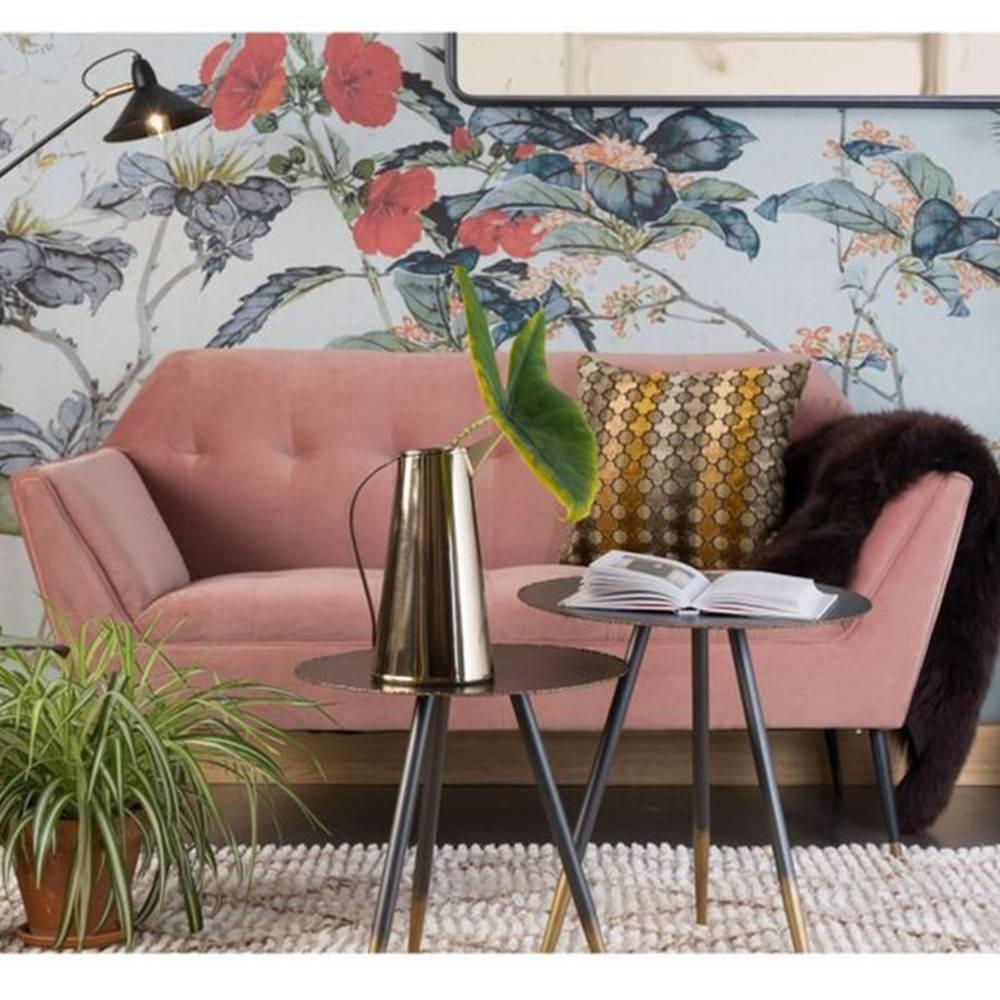 Canapé 2 places DIMITRI velours rose