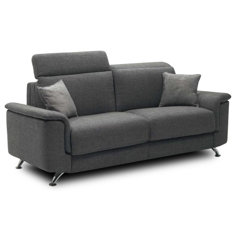 Canapé droit 4 places Gris Tissu Design Confort