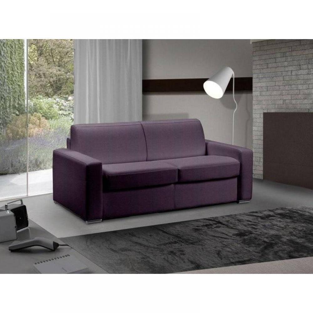 Canapé convertible 3 places Tissu Confort Violet