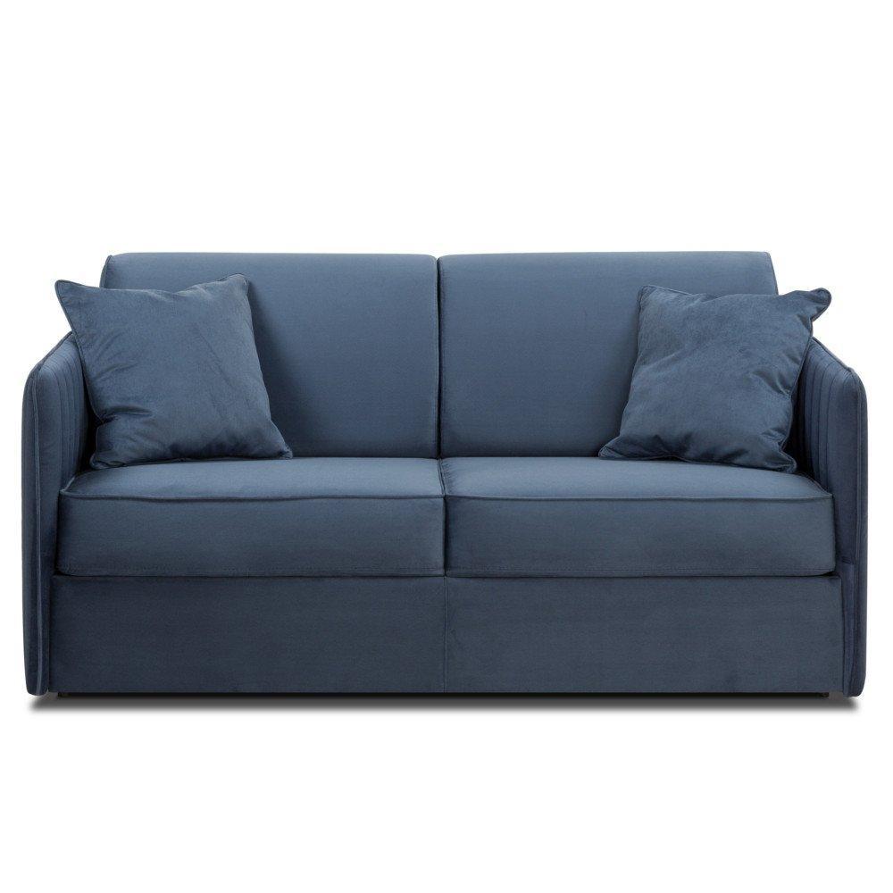 Canapé convertible SEATTLE 140cm comfort BULTEX® sommier lattes RENATONISI tête de lit intégrée velours  bleu