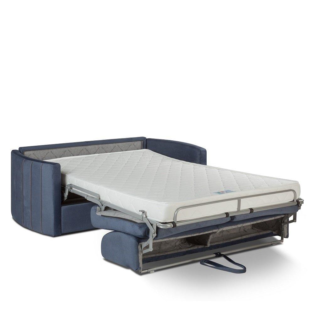Canapé lit express CAPRI couchage 140 cm sommier lattes matelas 16 cm accoudoirs stylisés