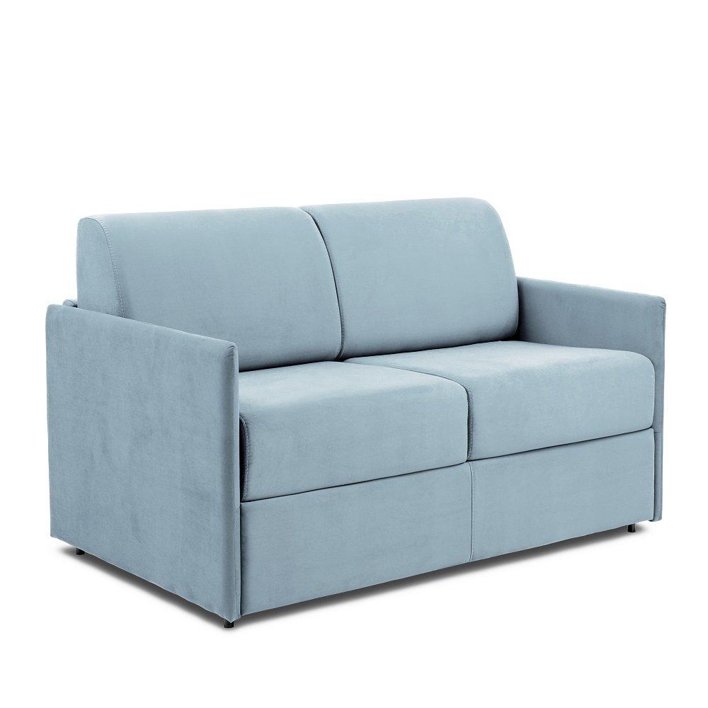 Canapé lit express COLOSSE couchage 120 cm matelas épaisseur 22 cm à mémoire de forme velours bleu pastel