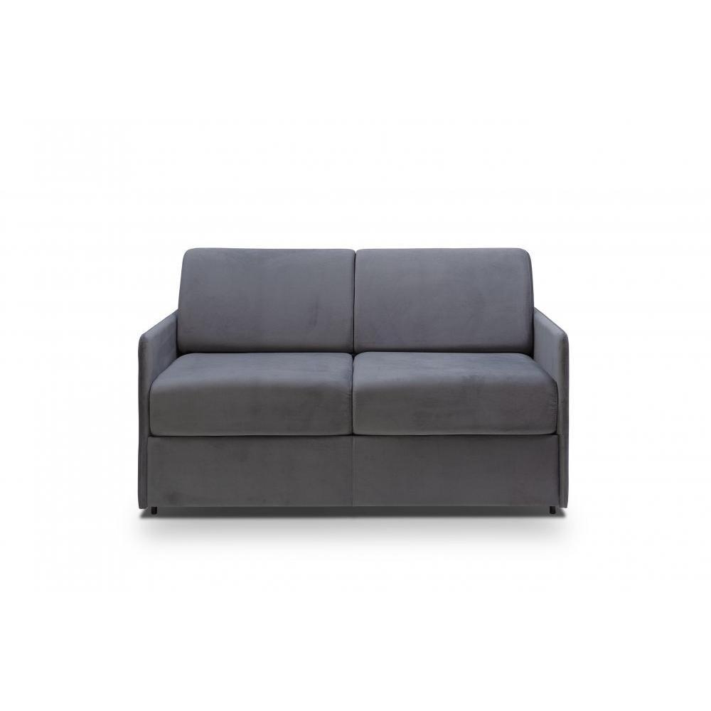 Canapé lit express COLOSSE couchage 120 cm matelas épaisseur 22 cm àmémoire de forme velours gris anthracite
