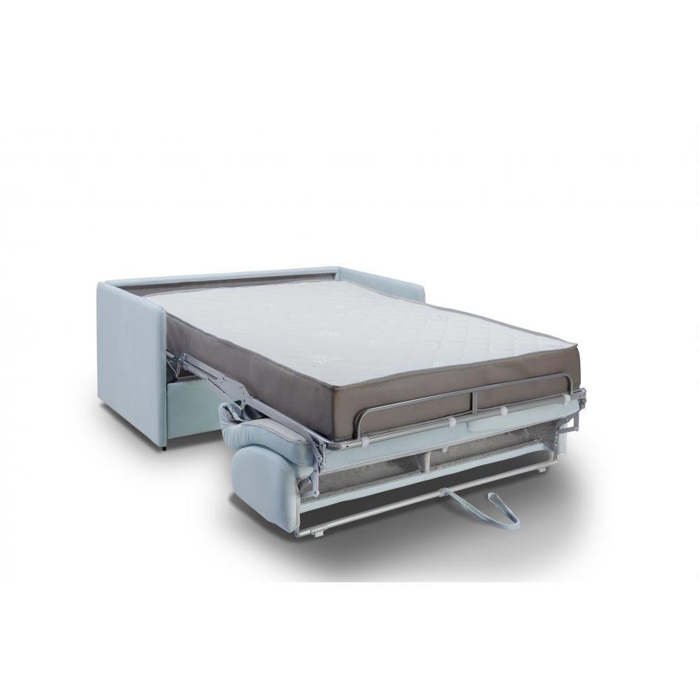 Canapé lit express COLOSSE couchage 140 cm matelas épaisseur 22 cm à mémoire de forme velours bleu pastel