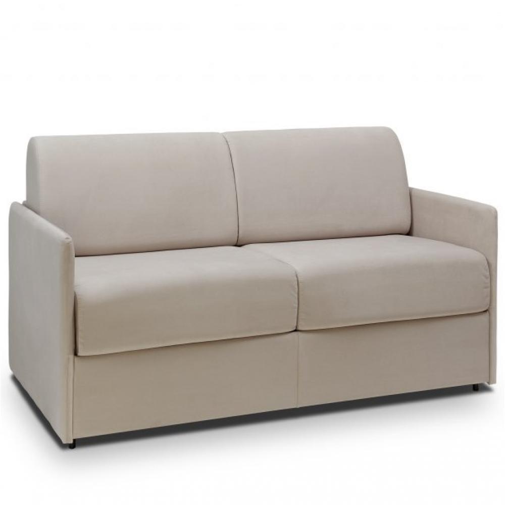 Canapé lit express COLOSSE couchage 140 cm matelas épaisseur 22 cm à mémoire de forme velours gris silver