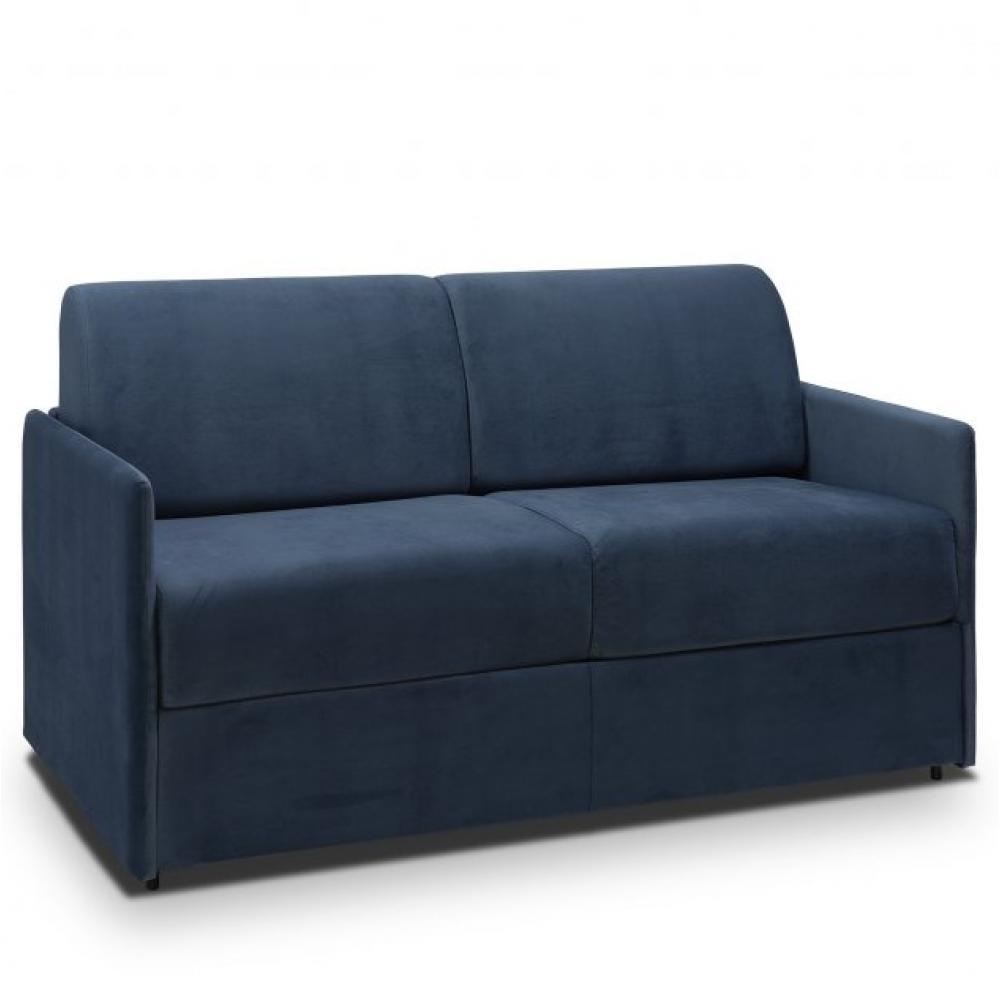 Canapé lit express COLOSSE couchage 160 cm matelas épaisseur 22 cm à mémoire de forme velours bleu marine