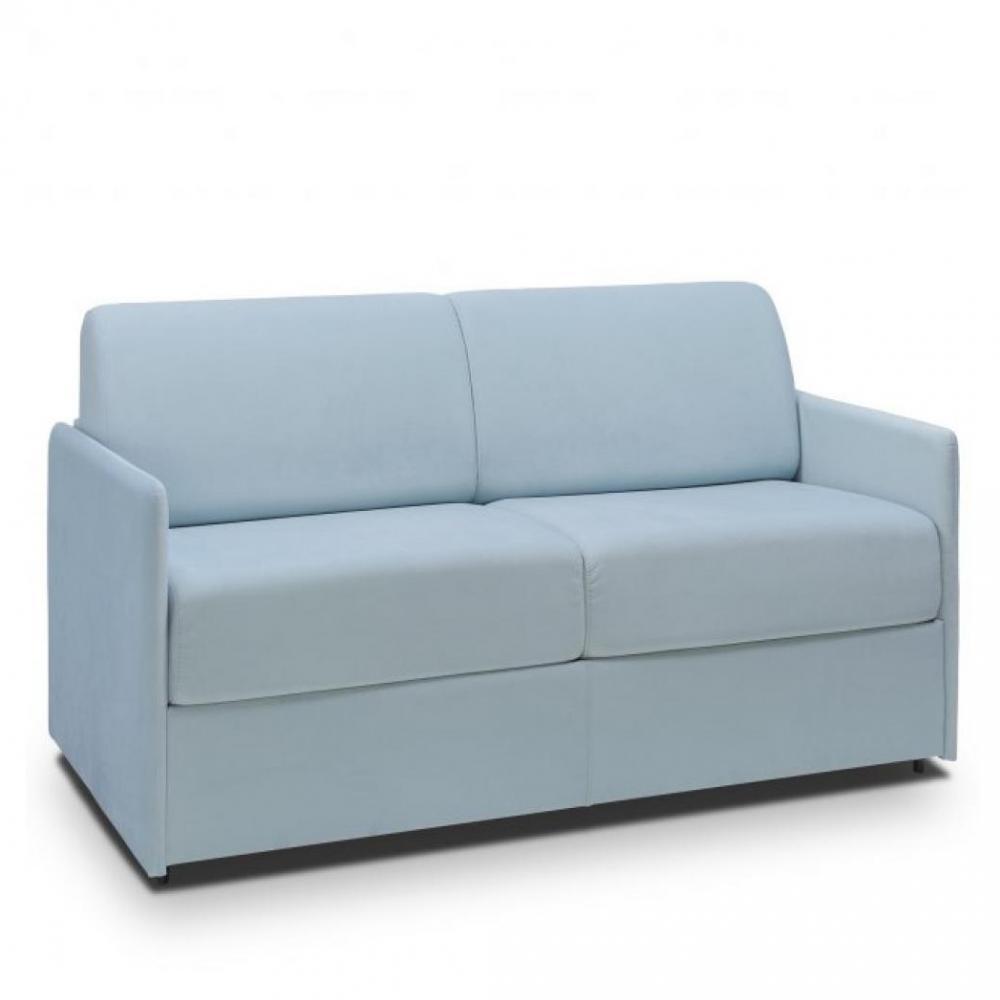 Canapé lit express COLOSSE couchage 160 cm matelas épaisseur 22 cm à mémoire de forme velours bleu pastel