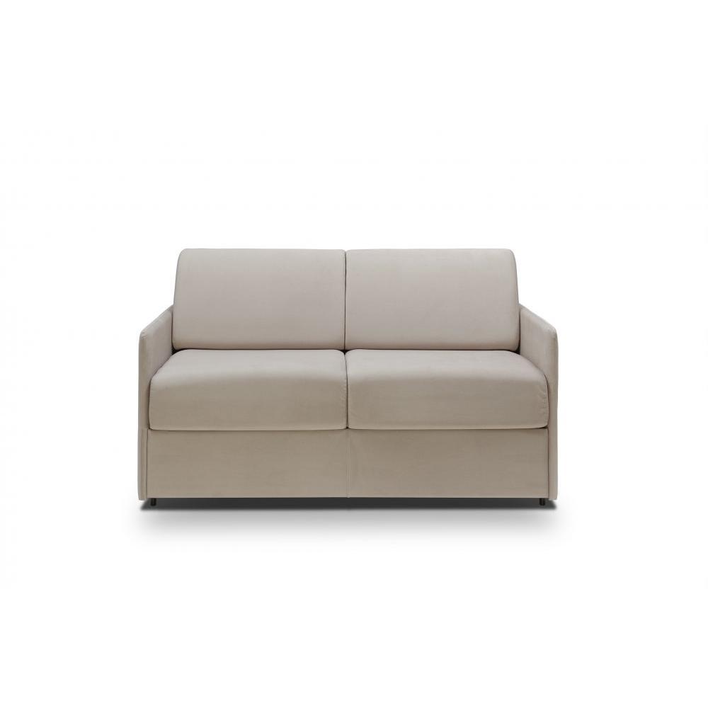 Canapé lit express COLOSSE couchage 160 cm matelas épaisseur 22 cm à mémoire de forme velours gris silver