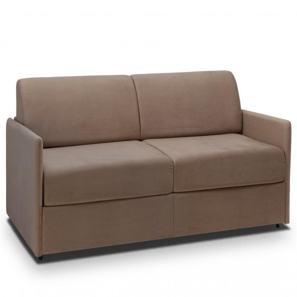 Canapé lit express COLOSSE couchage 160 cm matelas épaisseur 22 cm à mémoire de forme velours taupe