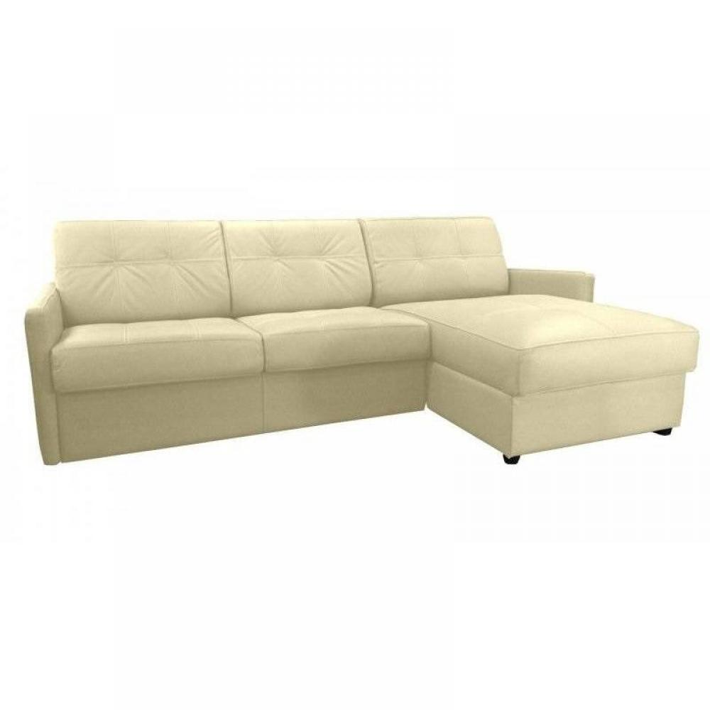 Canapé d'angle 2 places Beige Tissu Luxe Design Confort