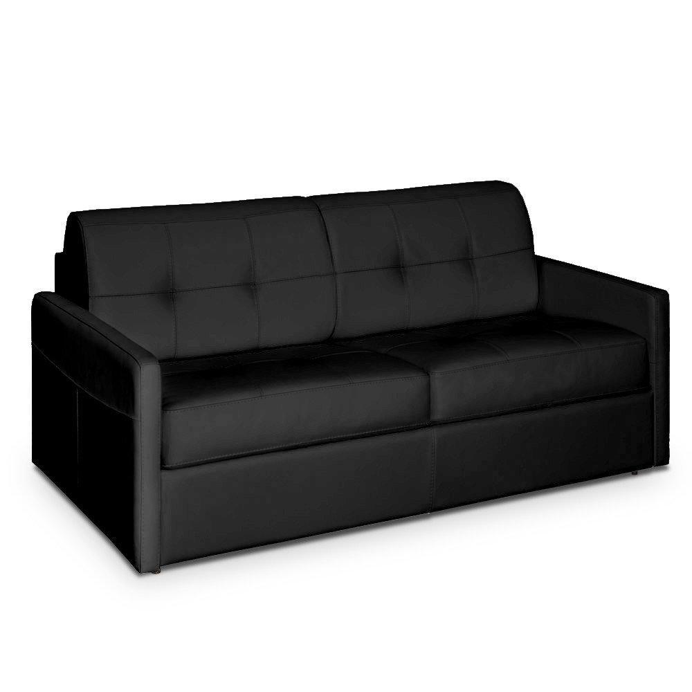 Canapé lit CUBE convertible ouverture RAPIDO 140cm matelas 14cm cuir vachette recyclé noir