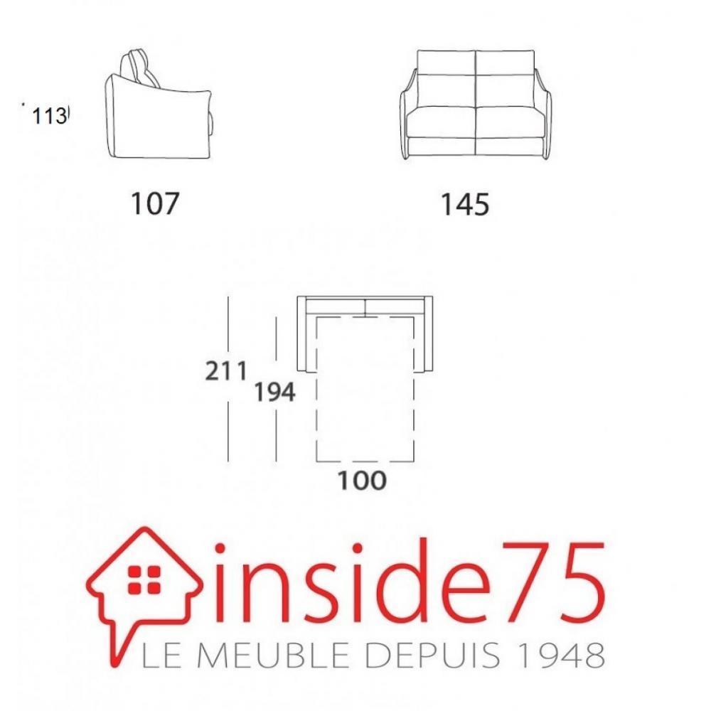 Canapé 2 places TIME convertible ouverture EXPRESS 100*194*18cm