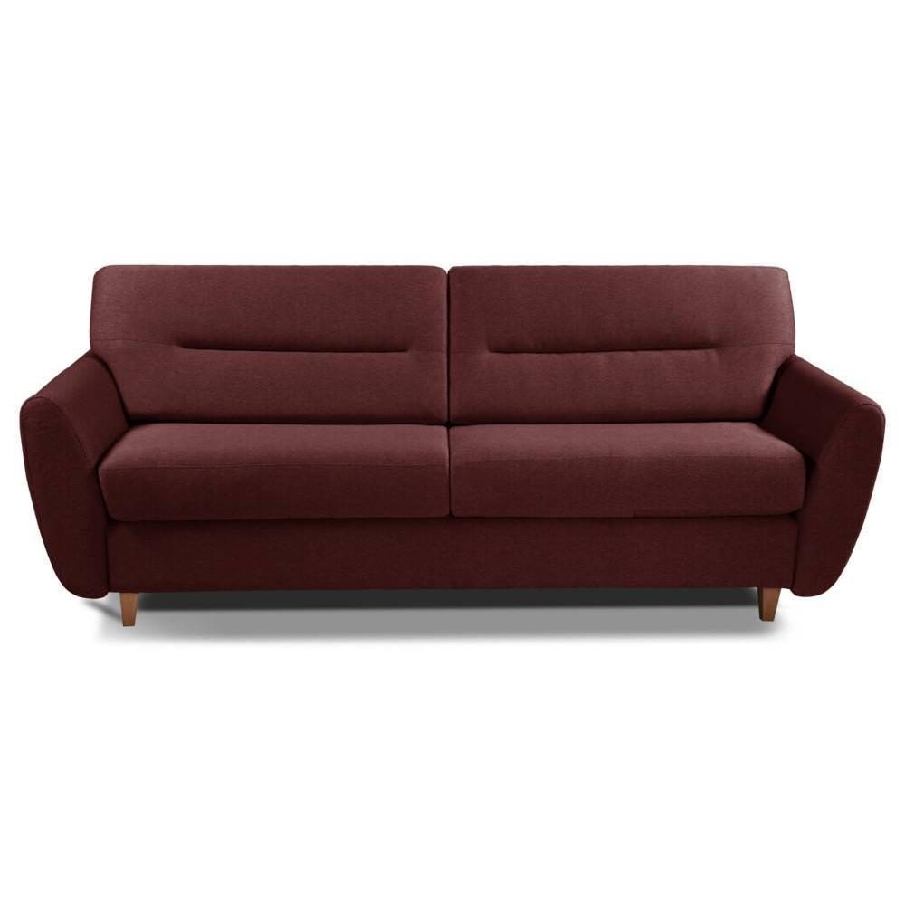 COPENHAGUE divano in tessuto tweed bordò sistema letto RAPIDO 120cm materasso 15cm
