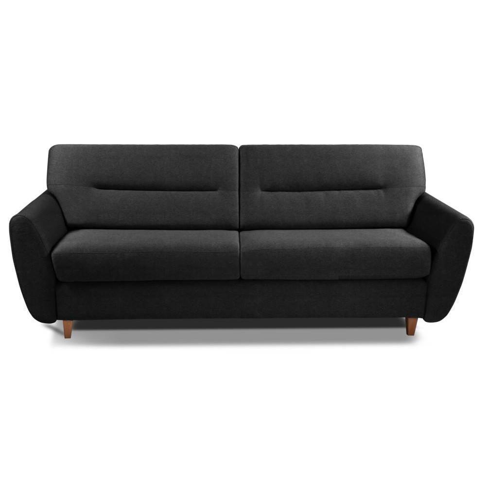 COPENHAGUE divano in microfibra nero sistema letto RAPIDO 120cm materasso 15cm