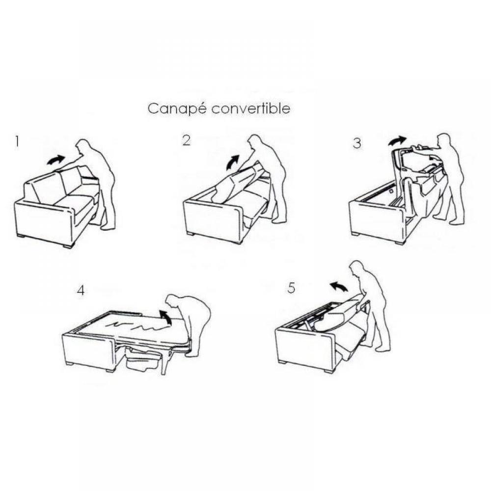 Canapé EIFFEL convertible express matelas 16 cm sommier lattes 140 cm