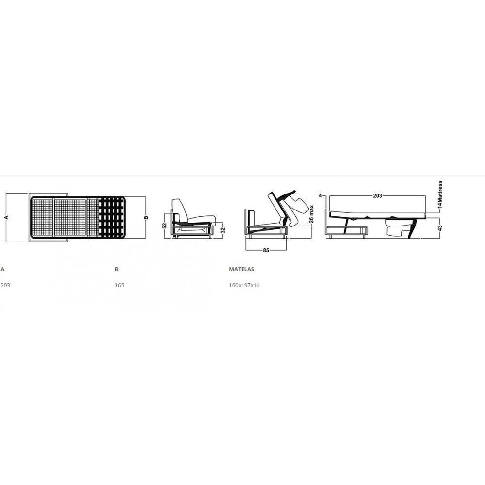 Canapé lit convertible express 160cm ARIA ouverture/fermeture AUTOMATIQUE électrique matelas 14cm