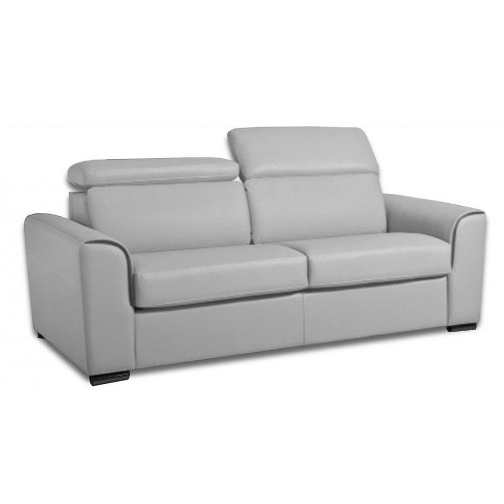 Canapé droit 2 places Gris Tissu Confort