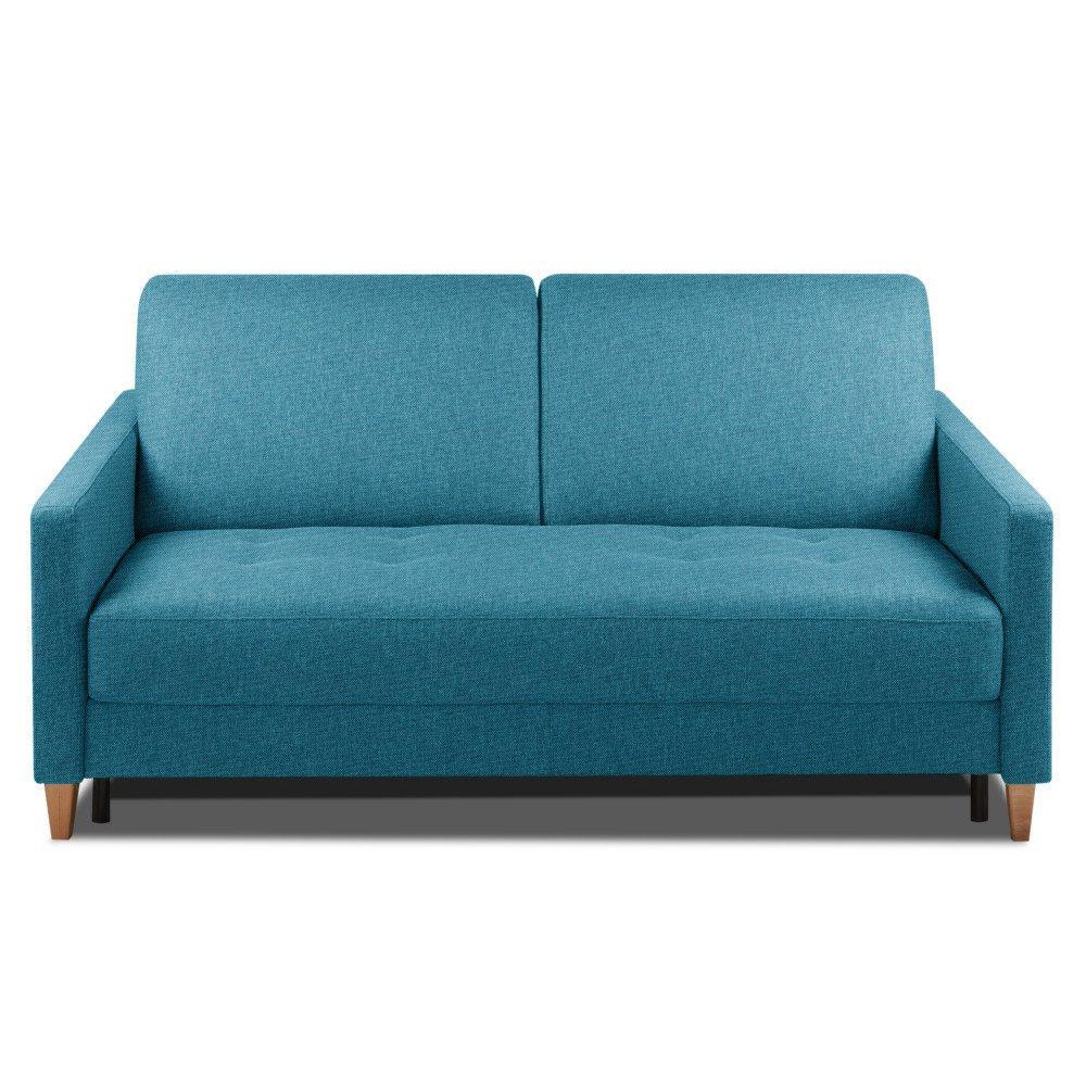 Canapé convertible OGGETTO matelas 14cm système rapido sommier lattes 120cm RENATONISI tissu tweed bleu paon