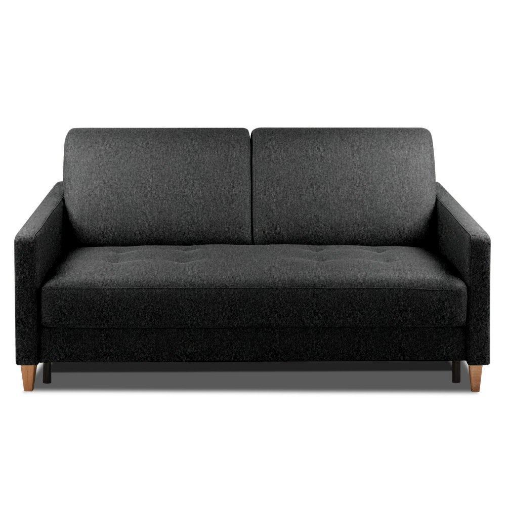 Canapé convertible OGGETTO matelas 14cm système rapido sommier lattes 160cm RENATONISI tissu tweed noir