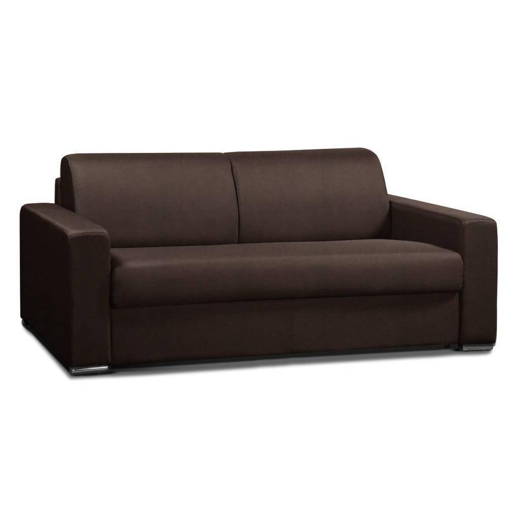Canapé convertible 3-4 places ALLURE matelas 20cm sommier lattes 160cm RENATONISI tissu microfibre marron