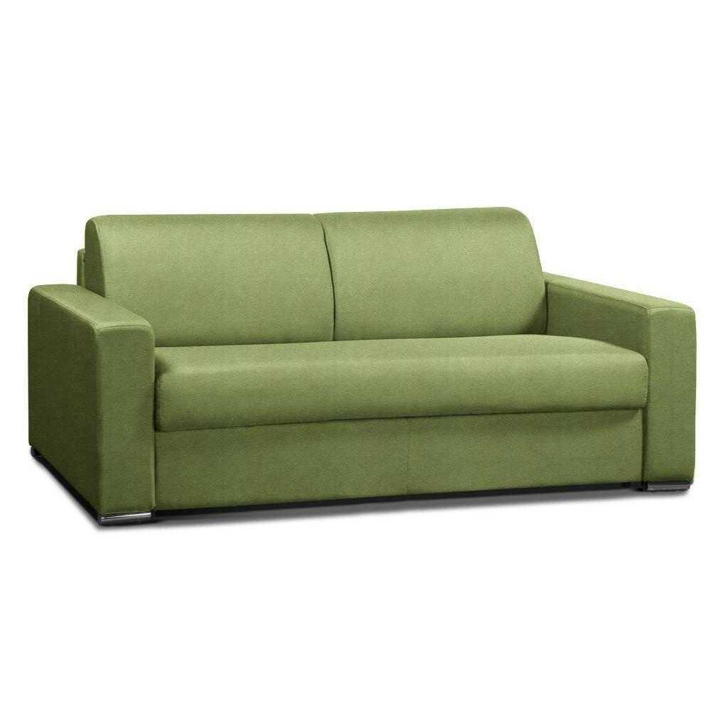 Canapé convertible 3-4 places ALLURE matelas 20cm sommier lattes 160cm RENATONISI tissu microfibre vert