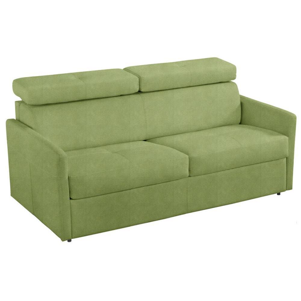 Canapé lit 3 places MONTMARTRE en microfibre vert couchage 140cm convertible rapido MATELAS 18CM