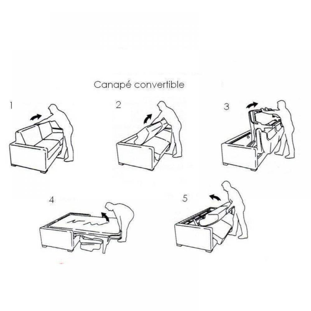 Canapé convertible NORDIC matelas 14cm système express sommier lattes 160cm RENATONISI