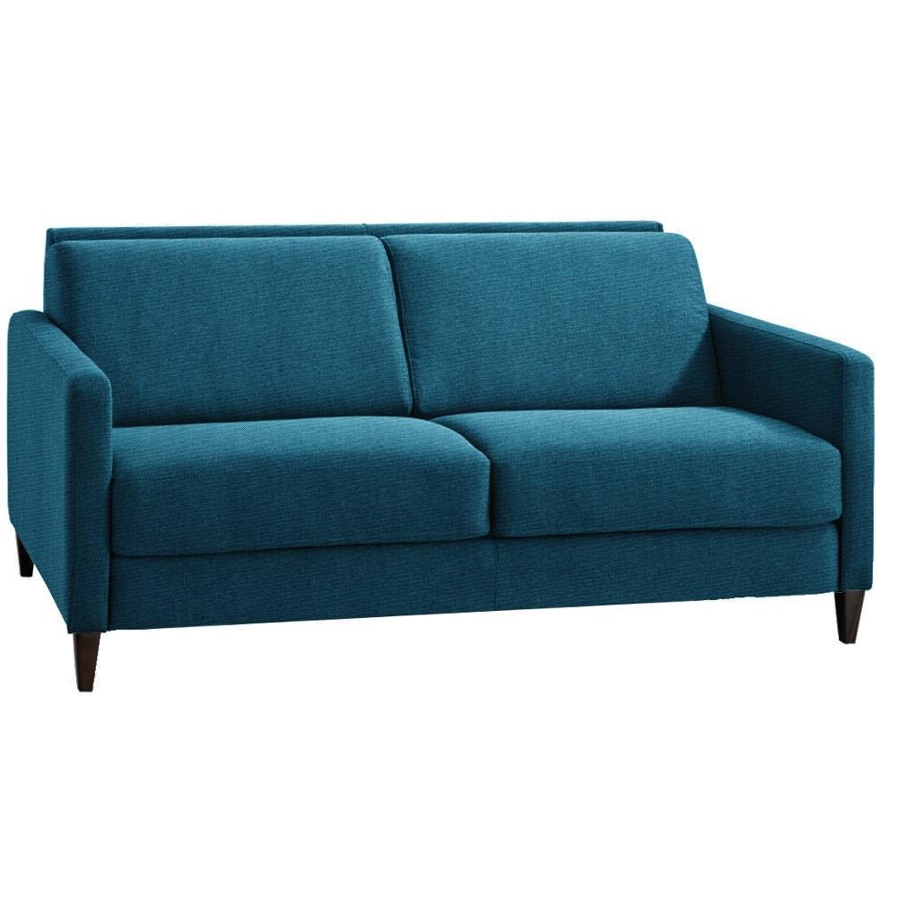 Canapé droit 4 places Bleu Tissu Design Confort