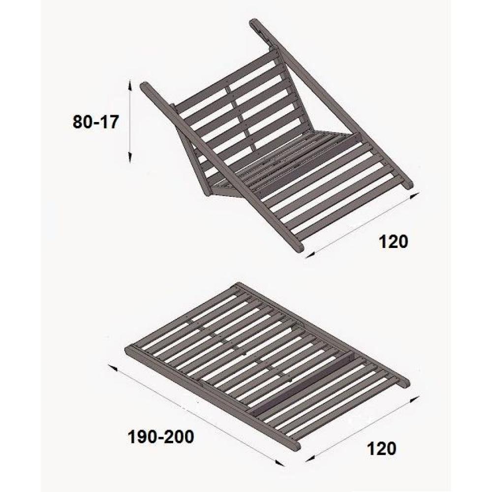 Chaise longue convertible wengé FIGO futon bordeaux couchage 120*200cm
