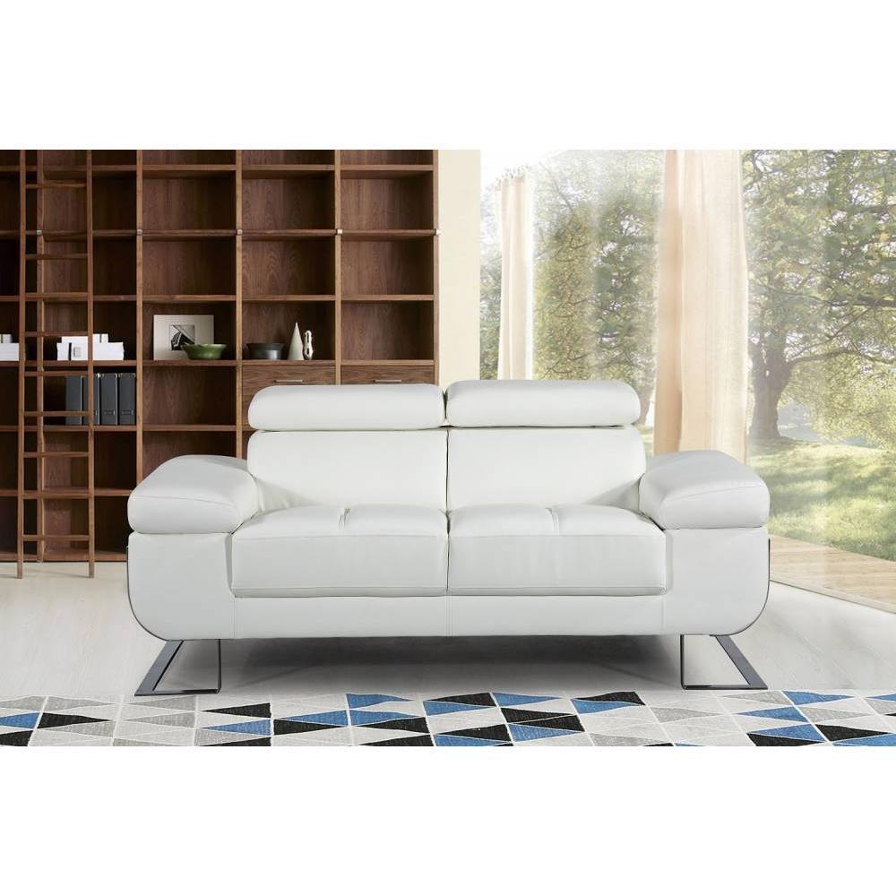 Canap fixe confortable design au meilleur prix canap 2 places en cuir fratta cuir vachette - Canape blanc casse ...