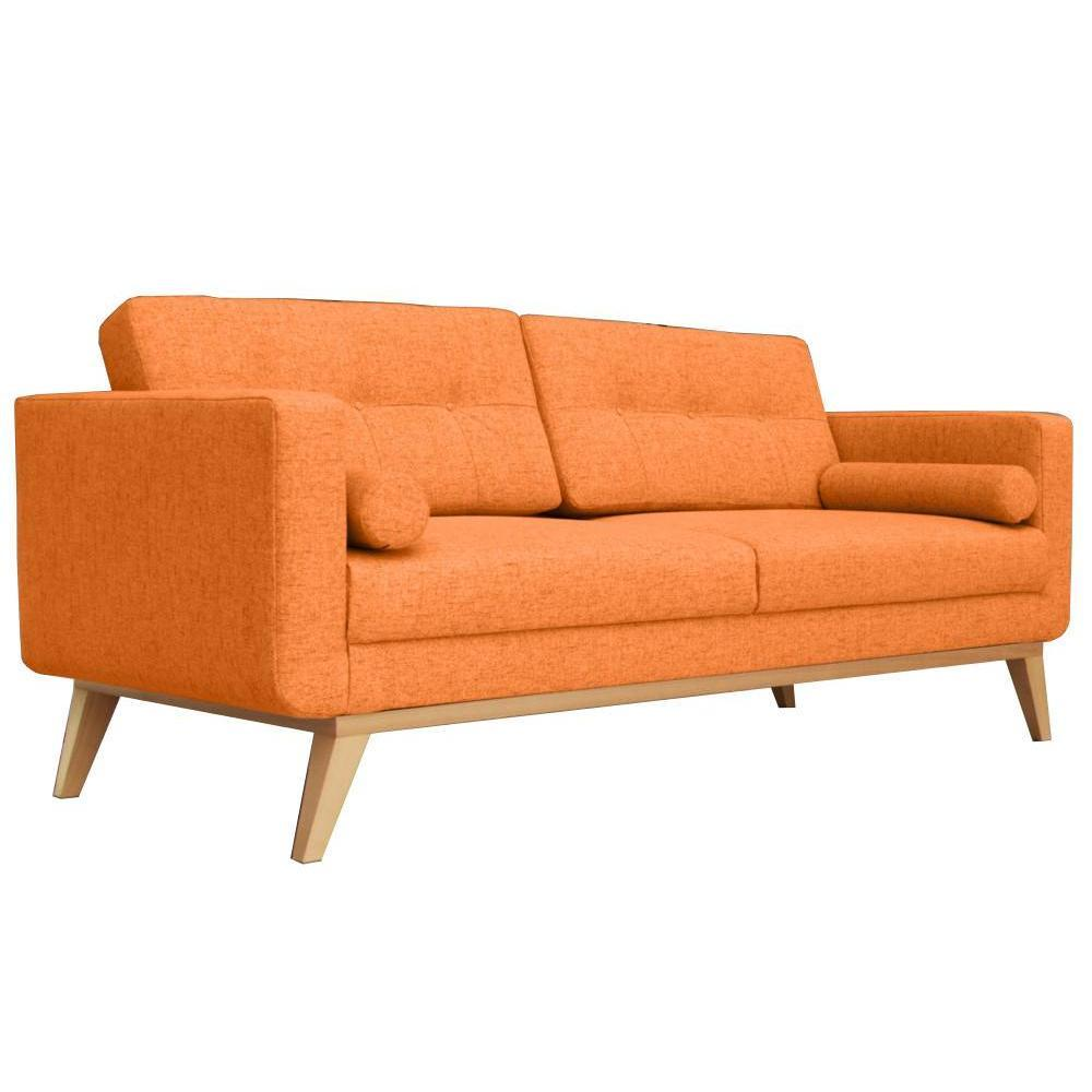 Canap fixe 3 places hedvig tissu orange style scandinave ebay - Canape 3 places fixe ...