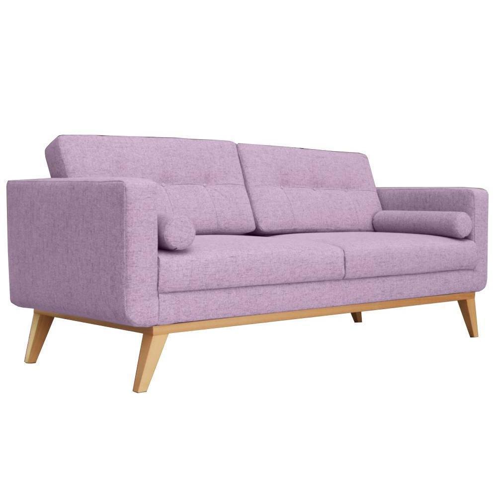 Canapé fixe 3 places HEDVIG tissu parme style scandinave. Un design moderne pour ce canapé fixe 3 places HEDVIG qui fera de votre salon