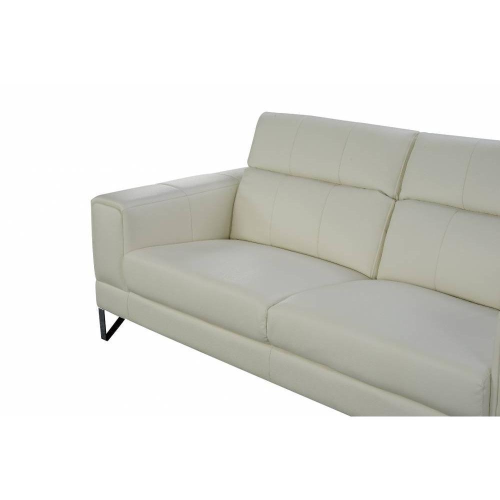 Canap fixe confortable design au meilleur prix canap 3 places en cuir recycl ronco cuir - Canape blanc casse ...