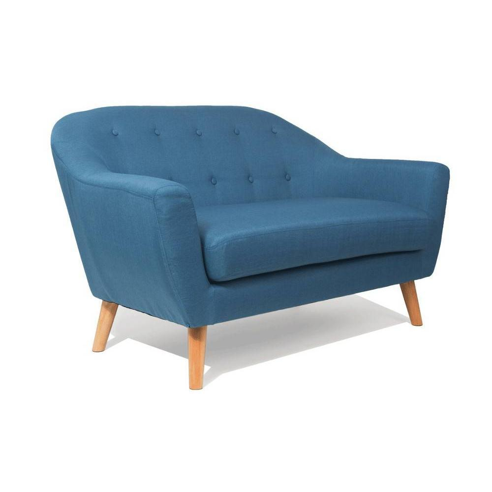 Canap fixe confortable design au meilleur prix canap scandinave utm rkt 2 places bleu azur for Dimension canape 2 places