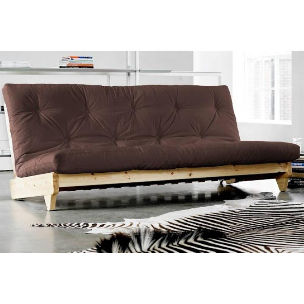 Banquette convertible futon FOLKER bois naturel coloris brown couchage 140*200 cm.. Banquette convertible futon FOLKER bois naturel coloris brown couc