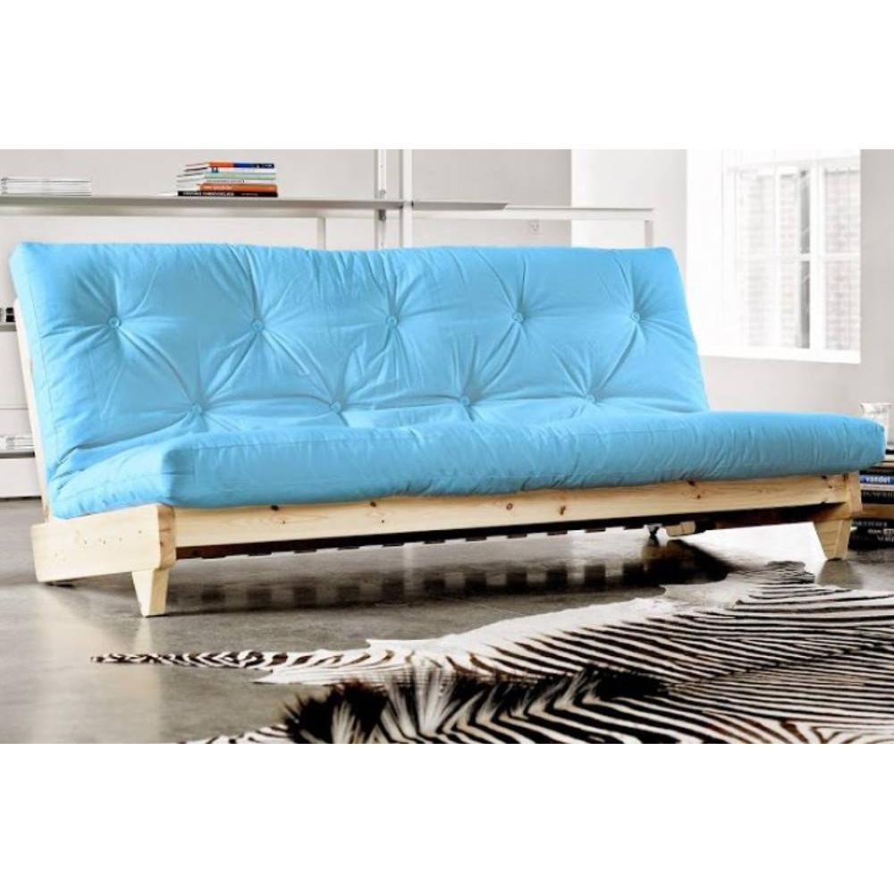 Banquette convertible futon FOLKER bois naturel coloris bleu clair couchage 140*200 cm.. Banquette convertible futon FOLKER bois naturel coloris bleu clair couchage 140*200 cm.