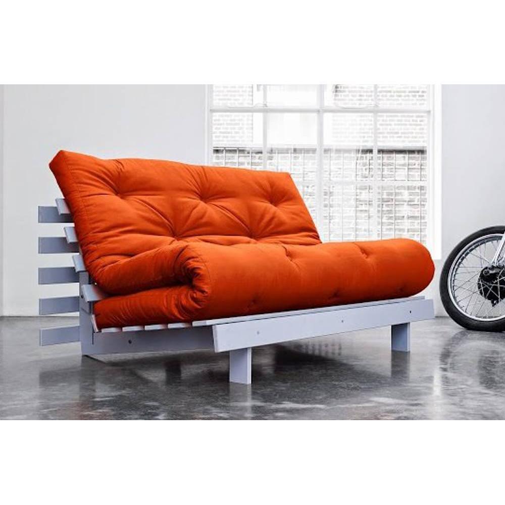 canap convertible au meilleur prix canap bz gris roots white futon orange couchage 140 200cm. Black Bedroom Furniture Sets. Home Design Ideas