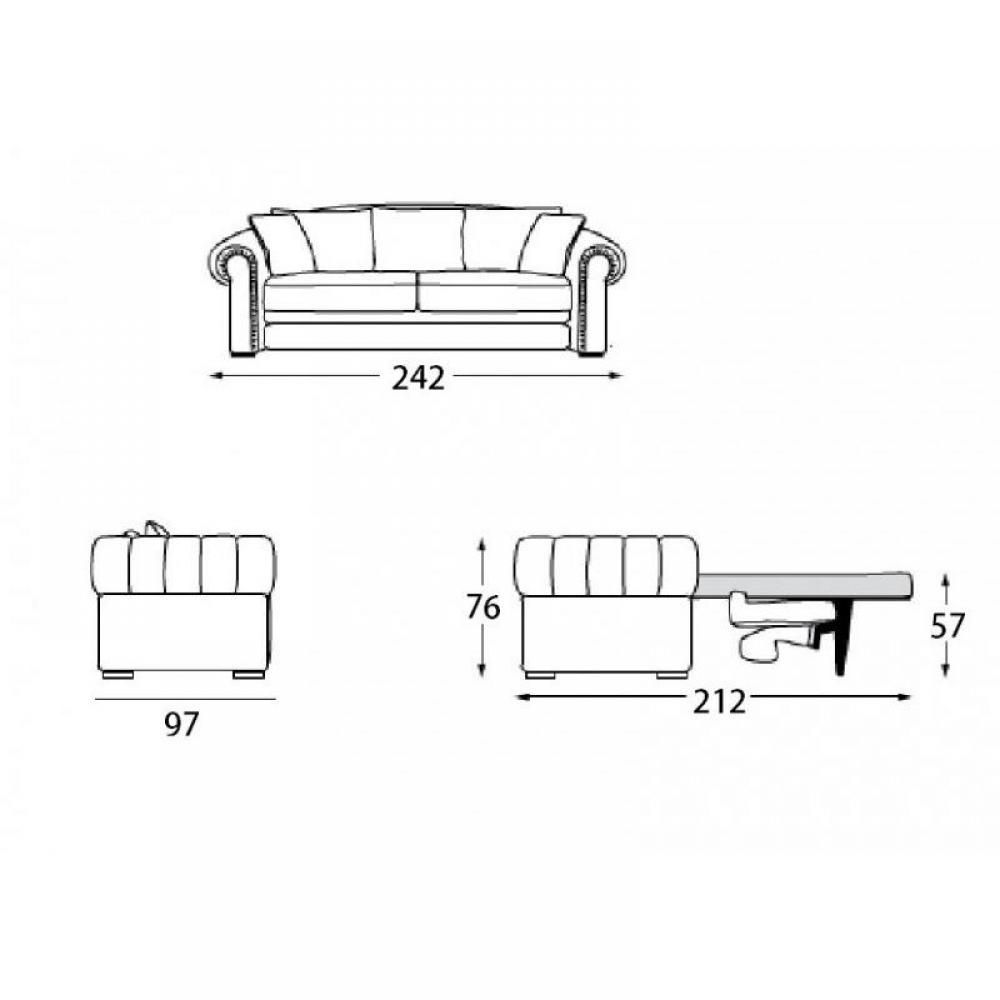 Canapé CHESTERFIELD convertible ouverture EXPRESS couchage 160 * 200 cm