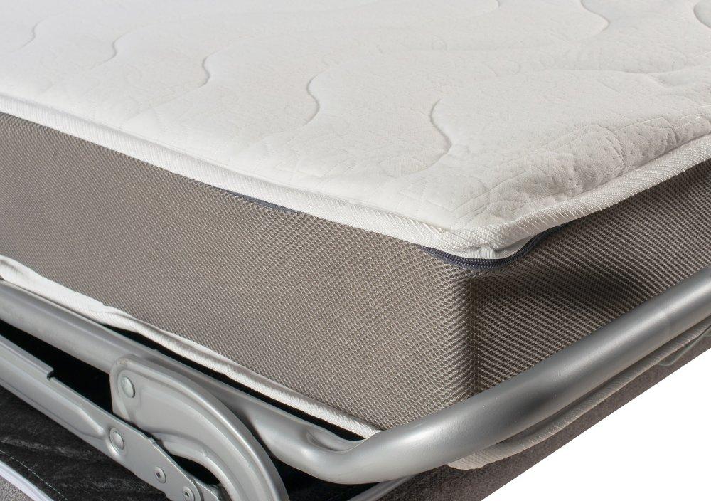 Canapé convertible express DOMUS 140cm matelas 18cm sommier lattes tissu gris anthracite