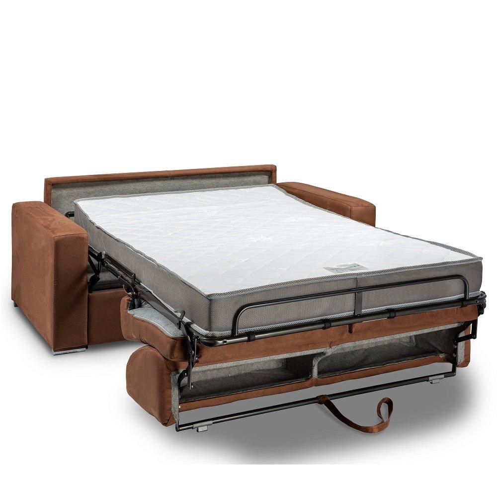 Canapé lit 2-3 places DREAMER convertible EXPRESS 120cm matelas 16 cm microfibre marron