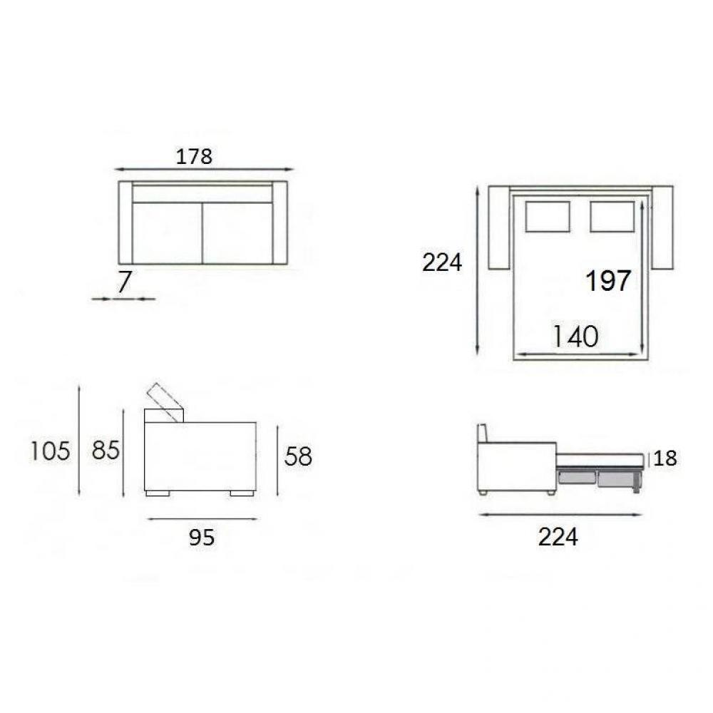 Canapé lit MONTMARTRE 140cm EXPRESS matelas 18cm