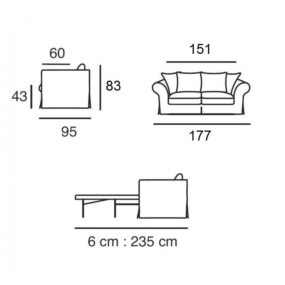Canapé lit  convertible SOFIA matelas BULTEX 133*183*6 cm sommier lattes Ouverture RAPIDO