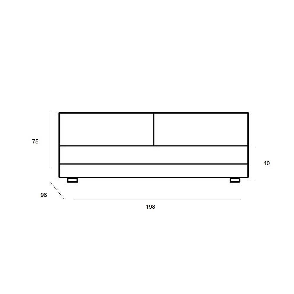 Module convertible LOUNGE 3 places en tissu taupe clair couchage 160*198cm  SOFTLINE